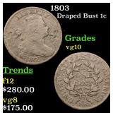 1803 Draped Bust Large Cent 1c Grades vg+