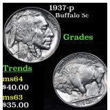 1937-p Buffalo Nickel 5c Grades Select+ Unc