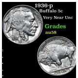 1936-p Buffalo Nickel 5c Grades Choice AU/BU Slide