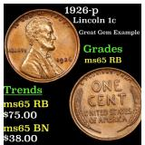 1926-p Lincoln Cent 1c Grades GEM Unc RB