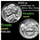 1942-p Jefferson Nickel 5c Grades GEM Unc