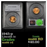 PCGS 1945-p Lincoln Cent 1c Graded ms66 rd By PCGS