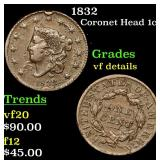 1832 Coronet Head Large Cent 1c Grades vf details