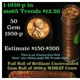 Full roll of 1959-p Lincoln Cents 1c Uncirculated