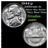 1944-p Jefferson Nickel 5c Grades Choice+ Unc