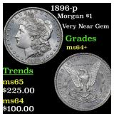 1896-p Morgan Dollar $1 Grades Choice+ Unc