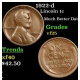 1922-d Lincoln Cent 1c Grades vf+