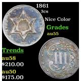 1861 Three Cent Silver 3cs Grades Choice AU
