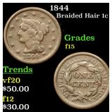 1844 Braided Hair Large Cent 1c Grades f+