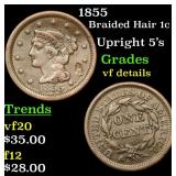 1855 Braided Hair Large Cent 1c Grades vf details