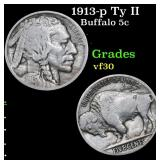 1913-p Ty II Buffalo Nickel 5c Grades vf++
