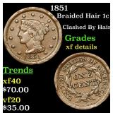 1851 Braided Hair Large Cent 1c Grades xf details