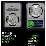 NGC 1921-p Morgan Dollar $1 Graded ms63 By NGC