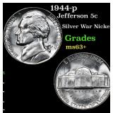 1944-p Jefferson Nickel 5c Grades Select+ Unc