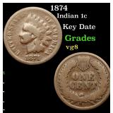 1874 Indian Cent 1c Grades vg, very good