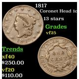1817 Coronet Head Large Cent 1c Grades vf+