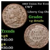 1863 Union For Ever Civil War Token 1c Grades vg d
