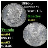1886-p Morgan Dollar $1 Grades Select+ Unc