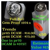Proof 1974-s Roosevelt Dime 10c roll, 50 pieces (f