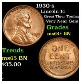1930-s Lincoln Cent 1c Grades Choice+ Unc BN
