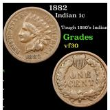 1882 Indian Cent 1c Grades vf++