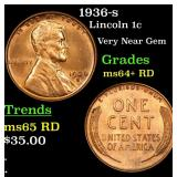 1936-s Lincoln Cent 1c Grades Choice+ Unc RD