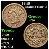 1848 Braided Hair Large Cent 1c Grades vf++