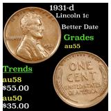 1931-d Lincoln Cent 1c Grades Choice AU