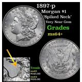 1897-p Morgan Dollar $1 Grades Choice+ Unc