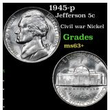 1945-p Jefferson Nickel 5c Grades Select+ Unc