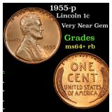 1955-p Lincoln Cent 1c Grades Choice+ Unc RB