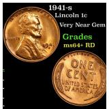1941-s Lincoln Cent 1c Grades Choice+ Unc RD