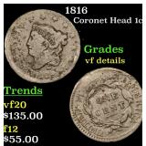 1816 Coronet Head Large Cent 1c Grades vf details