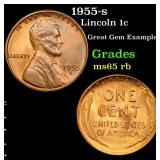 1955-s Lincoln Cent 1c Grades GEM Unc RB