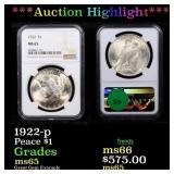 *Highlight* 1922-p Peace $1 Graded ms65