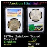 *Highlight* 1878-s Rainbow Toned Morgan $1 Graded