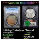 *Highlight* 1887-p Rainbow Toned Morgan $1 Graded