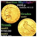*Highlight* 1908-p Indian $2 1/2 Grades Select Unc