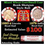 Mixed small cents 1c orig shotgun roll, 1920-s Whe