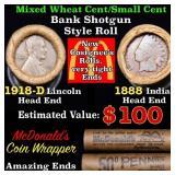 Mixed small cents 1c orig shotgun roll, 1918-d Whe