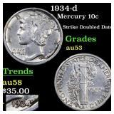 1934-d Mercury 10c Grades Select AU