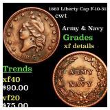 1863 Liberty Cap F-10-312a cwt Grades xf details