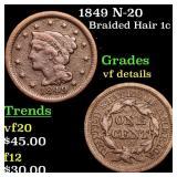1849 N-20 Braided Hair 1c Grades vf details