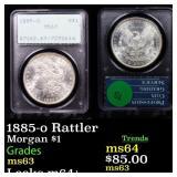 1885-o Rattler Morgan $1 Graded ms63