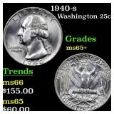 1940-s Washington 25c Grades GEM+ Unc