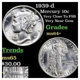 1939-d Mercury 10c Grades Choice+ Unc