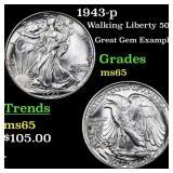 1943-p Walking Liberty 50c Grades GEM Unc