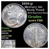 1916-p Mercury 10c Grades Choice Unc FSB