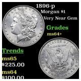 1896-p Morgan $1 Grades Choice+ Unc