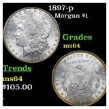1897-p Morgan $1 Grades Choice Unc